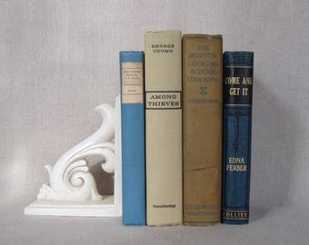 Decorative Books in Turquoise and Beige, Vintage Shabby Book Bundle, Farmhouse Books, Home Staging, Wedding Centerpiece, Rustic Book Set