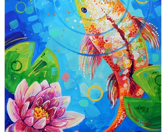 "Koi Fish and the Waterlily - Original colorful traditional acrylic painting on paper 8.5""x11"""