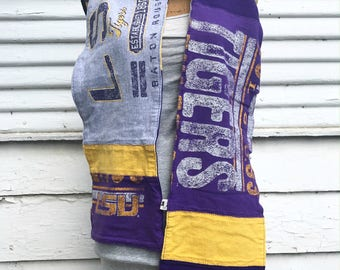 T-Shirt Scarf - LSU - Louisiana State Tigers - T-Shirt Patched Scarf - Fall Scarf - Game Day - #19 - BM