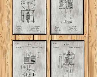 Group of four Tesla Electrical patents. Available in several sizes and Colors see color chart.