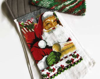 Santa Hanging Kitchen Towel and Dishcloth Set; Christmas Kitchen Set; Holiday Hanging Towel Set; Stocking Stuffer; Hostess Gift