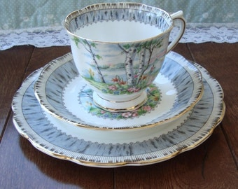 """Royal Albert """"Silver Birch""""- 3 Piece Tea Cup, Saucer and Dessert Plate - Gray Bark Band, Lined Gold Rim, Birch Trees and Floral Center"""