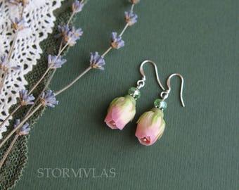Rosebud silver earrings 925 light pink roses earrings