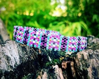 Scottish miyuki turquoise and purple bracelet