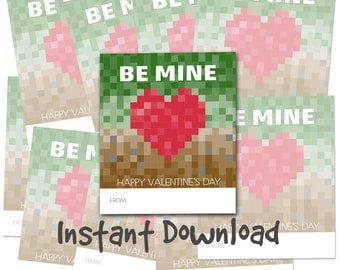 Instant Download - Classroom Kids Valentines Day Cards - Be Mine - Video Games School craft pixels