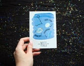 Pisces - Astrology crystals - Zodiac Constellation watercolor postcard