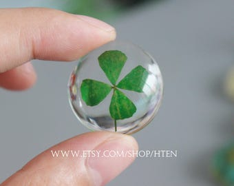 2pcs 26mm Handmade Lucky grass Cabochon - Clover Pendant Charms - real flower DIY Resin jewelry