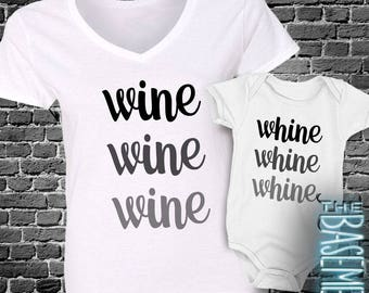 Mom and baby shirt set - custom WINE and whine matching shirt or bodysuit set WWGS