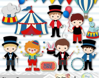 Boys Circus Digital Clip Art, Baby Boy Circus Party, Circus Digital Clip Art, Circus Clipart, Boy Carnival Clipart, Clown Boy Clipart, 0194