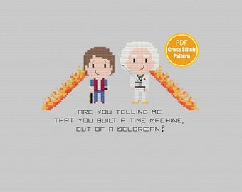 Back to the Future Cross stitch - Marty McFly Doc Brown - PDF Instant Download -Time Travel Delorean Cross-stitch - Classic Movies 80s