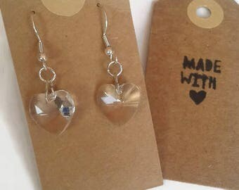 Clear crystal heart earrings