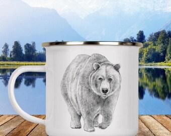Bear Camp Cup - Illustrated Bear Enamel Mug - Dishwasher Safe