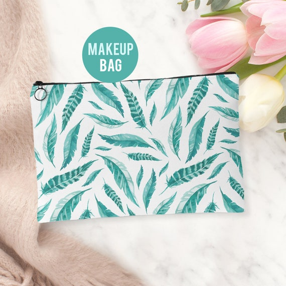 Makeup Bag - Feathers Cosmetics Bag - Accessories Bag Available in 2 sizes
