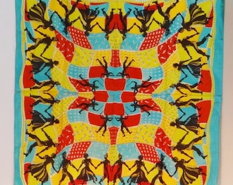 Vintage Silk Square Dancing Scarf Patchwork Rolled Edge Men Women Large Bandana Aqua Red Yellow Scarves