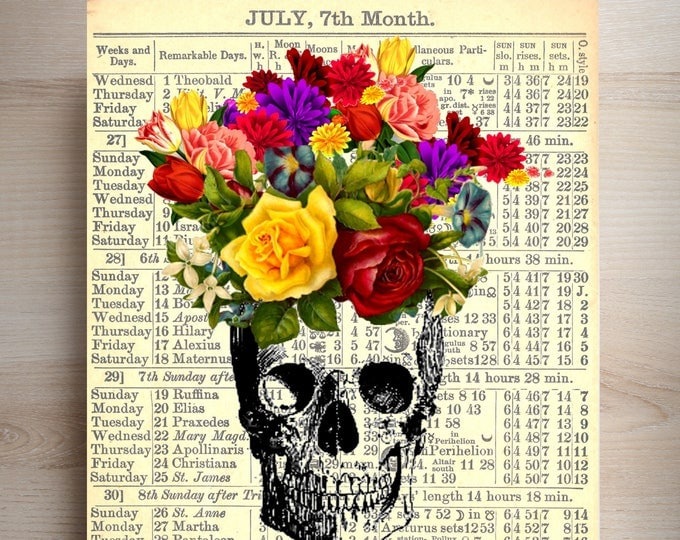 Skull bouquet of flowers choice of replica antique background art print, journal, almanac, vintage collage beautiful wall decor SKUL27