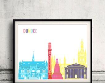 Dundee skyline pop - Fine Art Print Glicee Poster Gift Illustration Pop Art Colorful Landmarks - SKU 2455