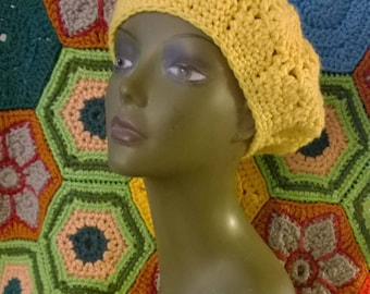 Crochet Hat Slouchy Beanie in Pretty Soft Yellow Yarn Hand Crocheted Beret