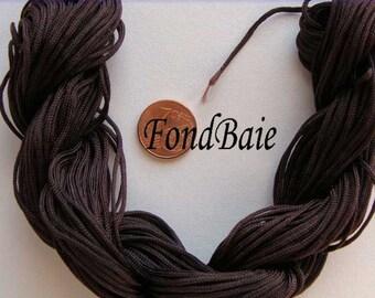Fil Echeveau 25m nylon tressé 1mm MARRON FONCE DIY création bracelet shamballa