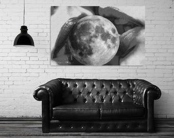 "Surreal collage art, pop art mouth, women lips art print, surreal art, gay print, lesbian print, kiss art print, moon art print- ""Connected"""