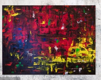 MEDArts Original Palette knife painting 30 x 40 Impasto Abstract modern Red Yellow Black Very colorful with a lot of texture Ready to hang