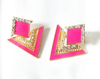 Pink-triangle earrings, <stud earrings>, cluster earrings, geometric earrings, <vintage earrings>