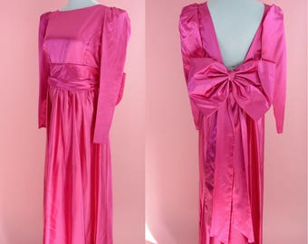 Vintage 80s Bridesmaid Gown // Giant Bow, Magenta Pink, 1980s Prom Dress, Costume, Women Size Large