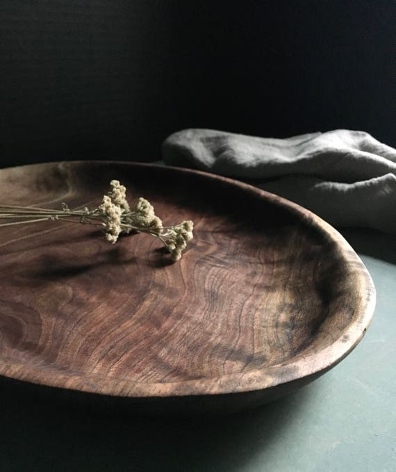 serving platter hand carved from black walnut *free shipping