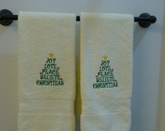 SALE! Christmas hand towel set.  Beige towels with embroidered Christmas Tree