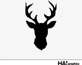 Deer Head Antlers Silhouette | www.pixshark.com - Images ...
