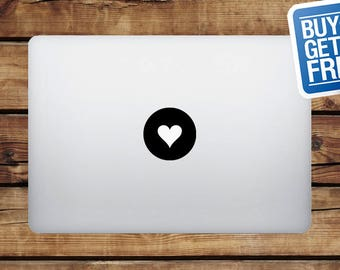 Love Heart - Macbook Apple Decal Sticker / Laptop Decal / Apple Logo Cover / 2 for 1 price