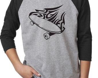 Youth raglan sleeve shirt, skater shirt, boys shirt, girls shirt, skater tshirt, skater t-shirt, Next Level shirt, youth shirts, skater tee