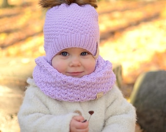 Toddler Girl Knit Hat,Wool Baby Girl Hat, Toddler Girl Winter Hat, Faux Fur Pompom Baby Girl Hat, Knitted Girls Beanie, Pink Beanie for Baby