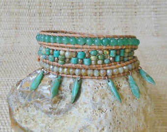Beaded Leather Wrap Bracelet: Green Aventurine Mix/3 Wrap Bracelet/Boho Bracelet/Gypsy Bracelet/Gift for Her/3rd Anniversary/Unique Jewelry