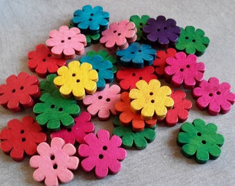 20 pcs, buttons, button flowers in wood, multicolored buttons, 20 x 19 mm 20 x 19 mm