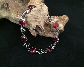 Red Crystal and silver tone Heart Bracelet