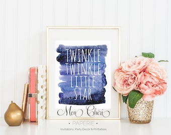 Twinkle Twinkle Wall Art | Kids Room Printable Wall Art |  Home Decor | Wall Print | Wall Art | Nursery Decor | Watercolor Print