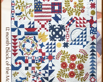 "SALE!! Austin Bluebird Sampler - Quilt Pattern by Minick and Simpson - 75"" x 84"""