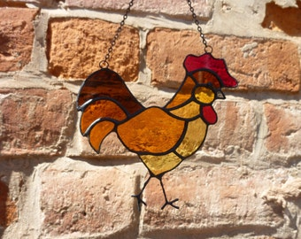 Stained glass Rooster suncatcher.
