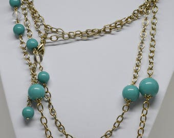 Gorgeous Gold tone and Teal Color Beads Necklace