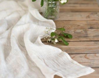 Off white linen table runner, Sheer linen,  Linen gauze runner, Wedding centerpiece, Long table runner, Softened linen, Cloth table runner