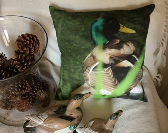"Mallard Duck 40x40 cm (16""x16"") Pillow Cover, Handmade Cushion, house warming, Emerald green, Birds in handmade, Christmas gift, shabby"