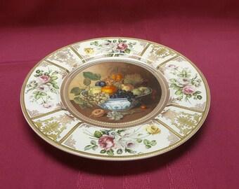 Oriental Still Life Plate, Fruit Roses, Cake Plate, Heavy Gold, LARGE Porcelain Platter, Serving Dining Centerpiece Decor, TV Movie Prop