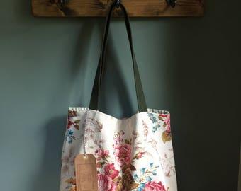 Vintage floral barkcloth fabric tote bag - cream/pink/green