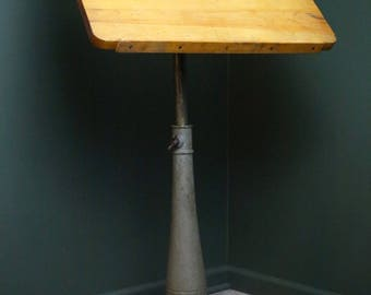 Vintage Industrial Cast Iron Base Artists Drafting Table Adjustable Height  Thick Wood Top Loft Style Decor