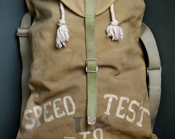 "Vintage US Military Canvas Rucksack Backpack ""Speed Test to Indiana"" Motorcycle Bicycle Book Bag Hand Painted Original Carry On Hiking Bag"