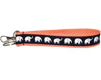 "Elephant Keychain • Key Fob Wristlet • Safari • Elephant Accessories • Handbag Strap • Lanyard • Navy • Coral • Swivel Clip • 1"" x 6"""