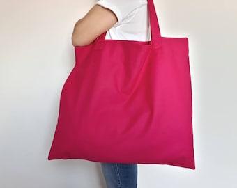 Large Beach Bag in Magenta Pink; Canvas Tote; Market Bag; Grocery Bag; Large Shopper