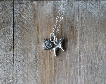 Pointer 3d sterling silver necklace - pave diamond AAA quality charm