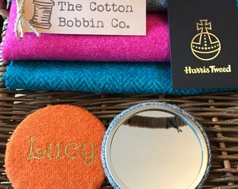 Personalised Harris Tweed Pocket Mirror Large 77mm & Authenticity Tags Cotton Bag Stocking filler Luxury Tweed Gifts for Her Gifts for Mum