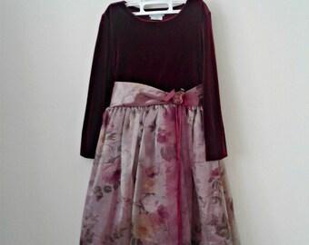 Young Girls Party Dress, Velvet Dress, Vintage Dress, Flower Girls Dress, Chiffon Dress, Girls birthday dress